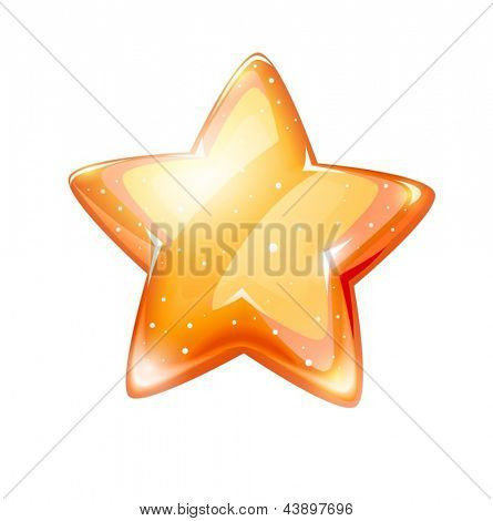 Magic gold glossy star isolated on white background - EPS10 vector illustration.