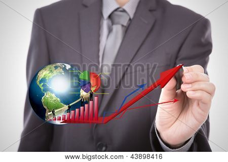 Hand point Silhouettes of business with red graph and earth (Elements of this image furnished by NASA)