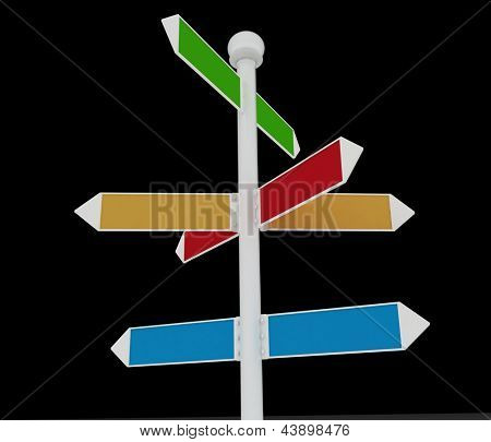 Direction road signs on black  background. 3d render illustration