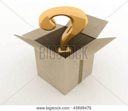 open box with question mark inside. 3d illustration isolated on white background.