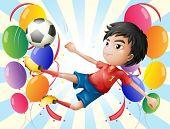 Постер, плакат: Иллюстрация футболист с воздушными шарами