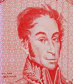 foto of bolivar  - Simon Bolivar on 5 bolivares 1989 banknote from Venezuela - JPG