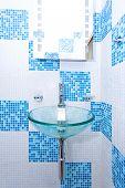 image of lavabo  - Round glass wash bowl in blue bathroom - JPG