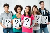 image of kindness  - Students Holding Question Marks - JPG