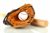 Baseball glove, bat and ball isolated on white