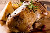 stock photo of roast duck  - roasted duck on the board - JPG