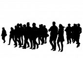 Vector drawing silhouette crowds