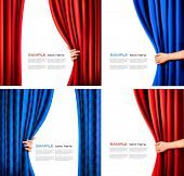 stock photo of curtain  - Set of backgrounds with red and blue velvet curtain and hand - JPG