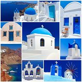 picture of cupola  - Collage of Santorini island images - JPG