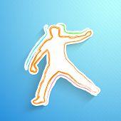 Постер, плакат: Крикет котелок в игре действий на синем фоне