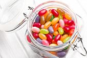 picture of jar jelly  - the jelly beans in glass jar - JPG