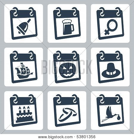 Vector Calendar Icons Representing Holidays: The Knowledge Day, Oktoberfest, International Woman's D