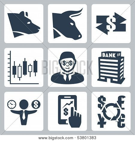 Vector Money, Stock Exchange Icons Set