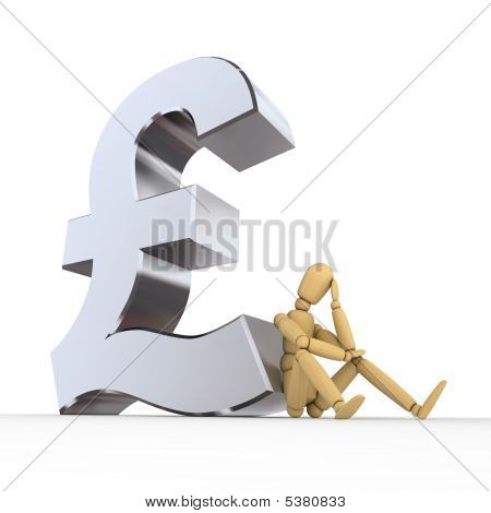 Doll Sitting At Pound Sterling Sign