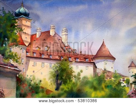 Watercolor Painting Of The Old Temple In Wachau, Austria