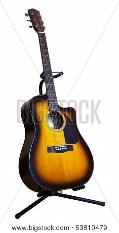 Acoustic Six-string Guitar On A White Background