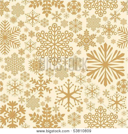 Golden snowflake seamless vector background pattern.