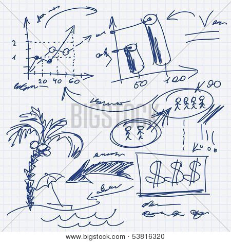Finance chart, infographic elements sketch