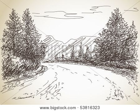 Road in countryside Hand drawn landscape