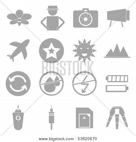 Camera Shooting Icons On White Background