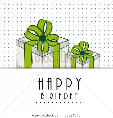 Happy Birthday, greeting card or invitation card with gift boxes wrapped by green ribbons on dotted grey background.