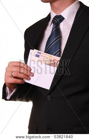 young businessman taking bribe