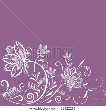 Abstract floral vintage purple background with copy space.
