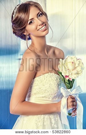 Portrait of a beautiful bride, sweet and sensual.