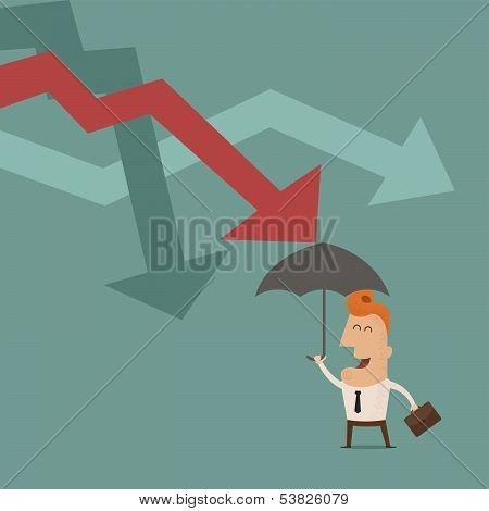 businessman holding umbrella protect graph down , Vector EPS10