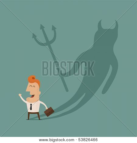 Businessman casting a devil shadow , eps10 vector format