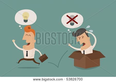 Businessman think outside the box , Vector EPS10