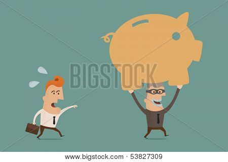 thief piggy bank , eps10 vector format
