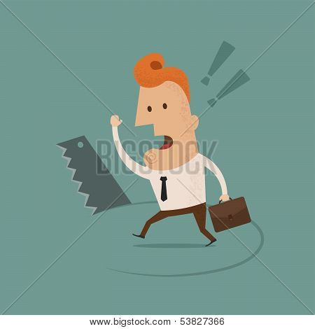 Businessman stands on hole cut by a saw vector format