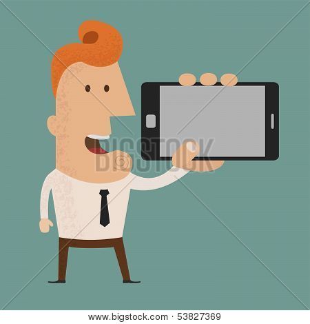Business man show phone vector format