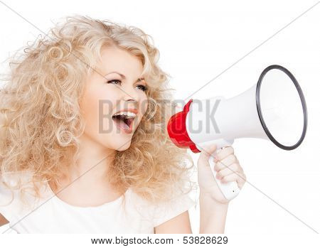health and beauty concept - beautiful woman with long curly hair holding megaphone