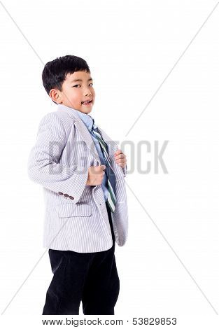 Proud Asian Boy in Suit