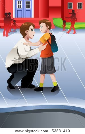 Father Picks Up His Son From School