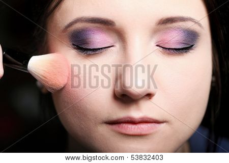 Makeup Face Applying Rouge  Blusher