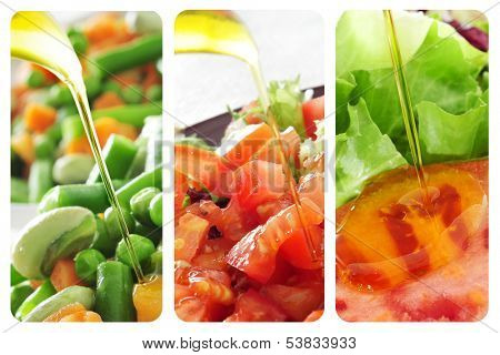 a collage of different salads dressed with olive oil