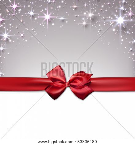 Silver christmas abstract background with red gift bow. Holiday illustration with stars and sparkles. Vector.