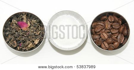 Natural tea, coffee and shugar