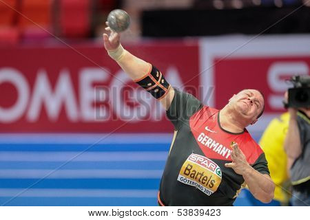 GOTHENBURG, SWEDEN - MARCH 1 Ralf Bartels (Germany) places 4th in the men's shot put final during the European Athletics Indoor Championship on March 1, 2013 in Gothenburg, Sweden.