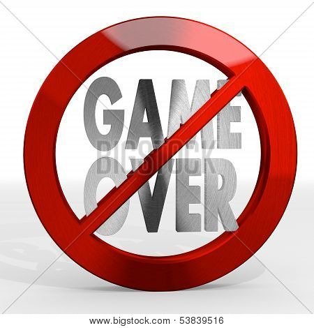 3D Render Of A Noble Game Over Sign Not Allowed