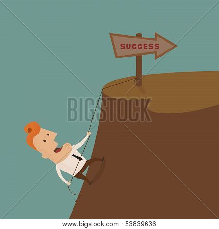 Businessman climbing on the rocks ,Vector EPS 10