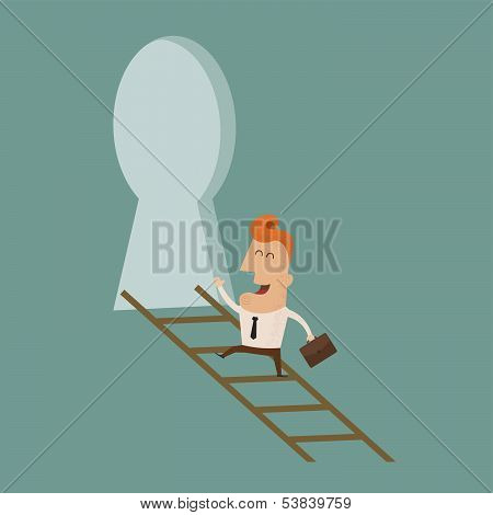 Businessman standing on ladder holding key , eps10 vector format