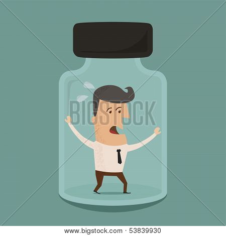 Businessman trapped in a glass jar ,Vector EPS 10