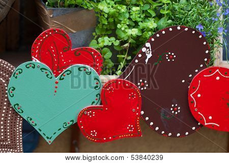 Colorful hearts - the symbol of love . Valantine decorations.