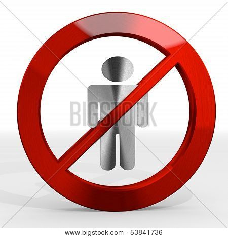 3D Graphic Of A Posh Man Sign Not Allowed