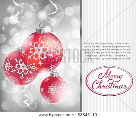 Vector Christmas balls on abstract silver lights background.