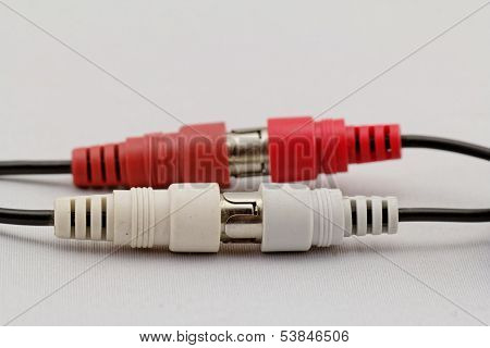 Audio Rca Cable On A White Background